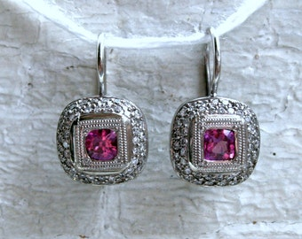 Vintage Halo Diamond Pink Sapphire Dangle Earrings in 18K White Gold - 1.46ct.