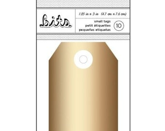 Shiny Gold Decorative Cardstock Media Tags - Set of 10, 3 x 1 7/8 Inches