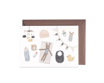 Baby Items Flat Lay New Baby Illustrated Greeting Card