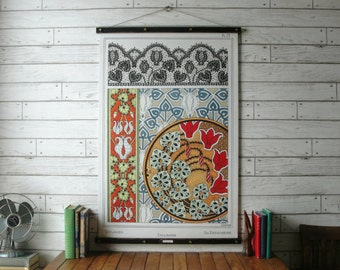 Vintage Floral Art Nouveau Botanical Pull Down Chart Reproduction with Canvas Print and Oak Wood and Brass Hanger / Cyclamen