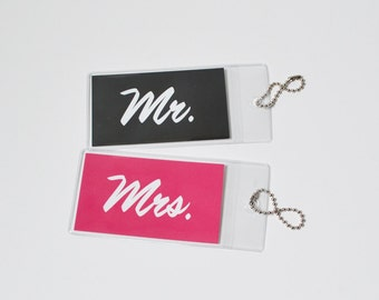 Luggage Tags Wedding Tags Mr and Mrs Luggage Tags Travel Tags Suitcase Tags Name Tags Honeymoon Tags