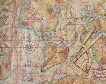 Old World Map Wrapping Paper 2.5X10 ft - Masculine Gifts, Travel, Scrapbooking, Crafts, Cards, Father's Day, Christmas, Gift Wrap Paper