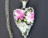 Necklace, Broken China Jewelry, Broken China Necklace, Heart Pendant, Black Chintz With Pink and White Roses, Sterling Silver Chain