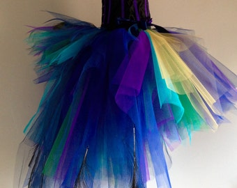 French Navy Blue Purple Peacock Feathers Burlesque Tutu Bustle Skirt Size 4 10 US 6