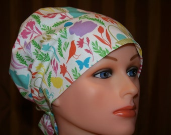 Tie Back Surgical Scrub Hat/Chemo Hat--Spring Time Fun