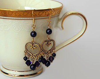 Purple and gold dangly Swarovski crystal and pearl earrings