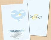 Sunshine Heart Invitation,  Blue Sky, Clouds, Outdoor Retro Industrial Wedding (5 x 7, Portrait): Text-Editable, Printable Instant Download