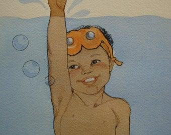 Original Water Color Illustration by Sylvia Walker, vintage, Boy Swimming