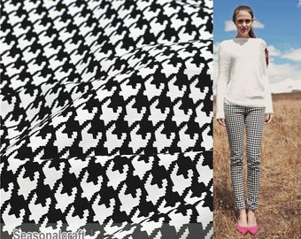 Classical Black White Houndstooth Cotton Fabric, Black White Hound Stooth Stretch Cotton - 1/2 Yard (QT472)