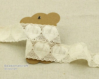 1 Yard Lace Trims 30mm 3cm Width,Embroidery Crochet,Beige Heart Color,Bridal,Scalloped,Cotton(YL86)