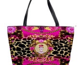20% Off Today Frida Kahlo with Skulls, Butterflies Leopard Print & Flowers Handbag, Fashionable, Quirky, Colourful, Limited Edition, Unique