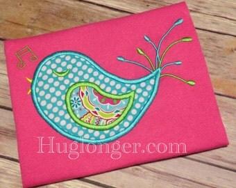 Applique Bird embroidery file