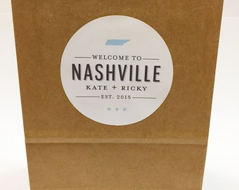 Welcome to Nashville| City and State Wedding Welcome Label | Printed by Darby Cards
