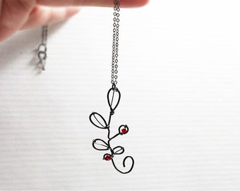 Winterberry Crystal Silver Necklace, Oxidized Sterling Silver Necklace, Crystal Necklace