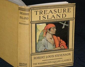 "Antique ""Treasure Island"" Robert Louis Stevenson Published by Washington Square Press Binding Macrae Smith Co"