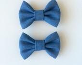 Simple chambray bow, denim bow, clip, hair bow, headband, blue