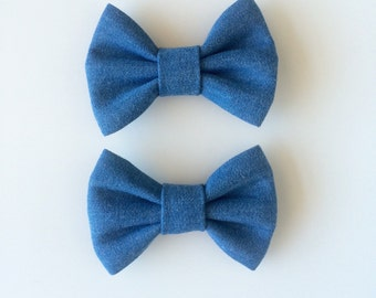 Simple chambray bow, denim bow, clip, hair bow, headband, blue