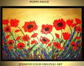 Original Large Abstract Painting Modern Acrylic Oil Painting Canvas Art Orange Gold Poppy Flowers 36x24 Palette Knife Textured  J.LEIGH