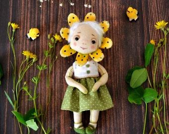 SALE - Little flower - art textile doll