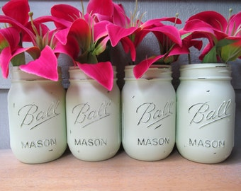 Painted and Distressed Ball Mason Jars- Mint Green/Light/Pastel-Set of 4-Flower Vases, Rustic Wedding, Centerpieces