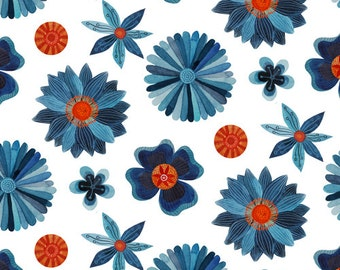 SALE | Cloud9 certified organic cotton fabric - Moody Blues flower fabric - 1/2 YD
