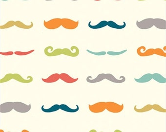 SALE   Birch organic cotton fabric - Just for Fun mustache fabric - 1/2 YD