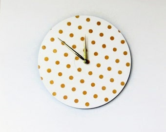 Gold and White Wall Clock, Gold Polka Dot Home Decor, Decor and Housewares, Home and Living