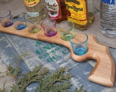 6 shots gun - Shooters gun tray - Hand Crafted Shot Glass Serving Platter - Drink Server - Reclaimed Wood - Glasses included