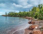 Lake Superior Landscape Photography - Fine Art Photograph - Nature Wall Decor - Trees Lake - blue red green - Landscape art print