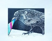Steampunk Crow Print, Murakami Wind-Up Bird, Resingrave Etching with Watercolor