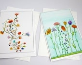 Set of 2 art greeting cards, Flower collection, flower art, Art print cards, blank inside