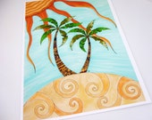 Colorful art print. Palm Trees and sunshine