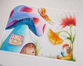 Colorful art print. Gnome reading with mushroom and flowers