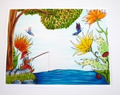 Colorful art print. Gnome fishing with buterflies and flowers