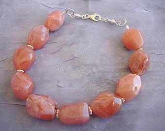 Peach aventurine nugget bracelet