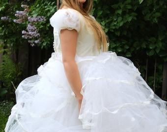 CLEARANCE Vintage 1950s Bombshell Wedding Dress Five Tier Dress Fairy Tale Princess Dress