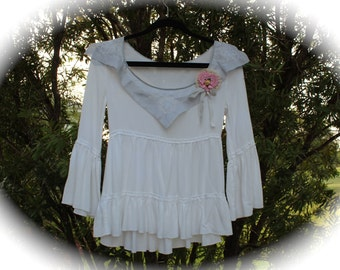 Sugar Sweet Rustic Romantic Belle Top  French Shabby Chic  Delicate Dove Grey Collar Mori Forest Girl Dolly Kei  Lace Size Small