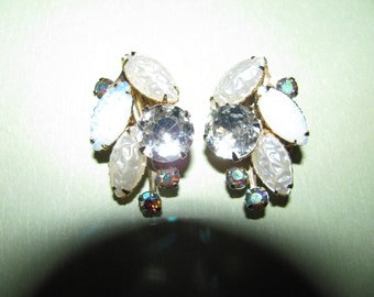 Vintage Clear Opalescent AB Rhinestone Juliana Style Clip On Earrings