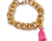 Tassel Chain Bracelet- in Flamingo Pink