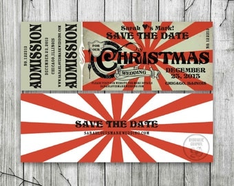 Christmas Wedding Save the Date Ticket, Printable Ticket Invitation, Vintage Christmas Party Invitation, Steampunk Christmas Invitation