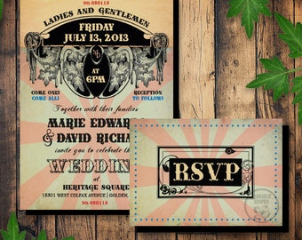 Retro Circus Printable Wedding Invitation and RSVP card with steampunk and vintage circus, carnival elements