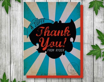 Super Hero Birthday Party Thank You Card, Printable Thank You Card for Kids Party, Comic Book Party Theme Thank You Card, Boys Birthday