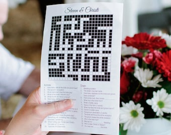 Custom Printable Wedding Crossword Puzzle, Welcome Bag Stuffer, Reception Game, Custom Crossword Puzzle
