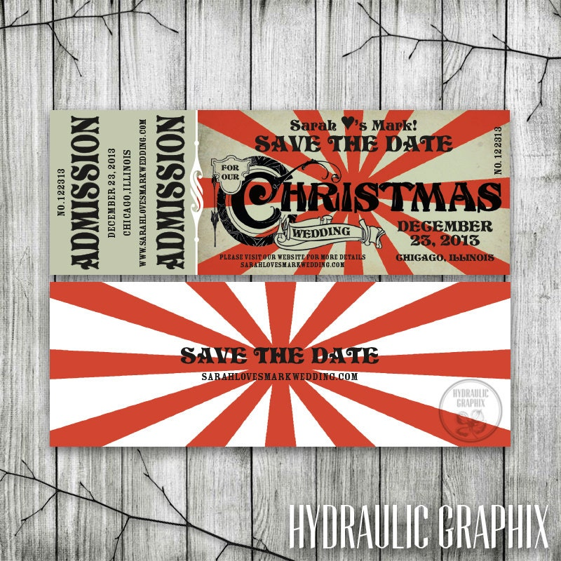 Christmas Wedding Save the Date Ticket Printable Ticket