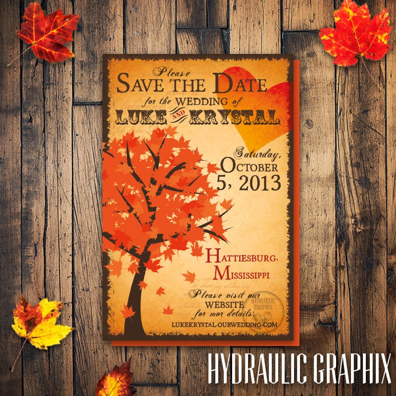 fall tree save the date fall wedding invitation fall tree With fall wedding invitations and save the dates
