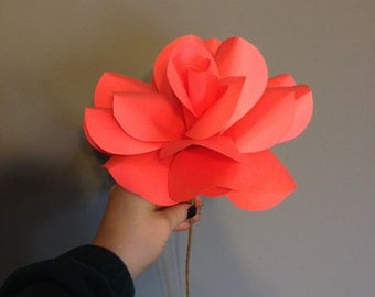 Giant paper rose, paper flower, wall decor, flower wall decor, giant paper flower, stemed flower, pink rose, red rose,huge rose,huge flower