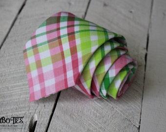 Pink and Green Necktie~Cotton Necktie~Anniversary Gift~Wedding Tie~Mens Necktie~Cotton Tie~Mens Tie~HoBo Ties~Boys Necktie~Boys Tie