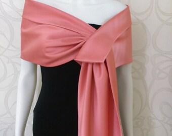 Coral  duchess satin shawl / shrug / bolero / wrap / cover - up