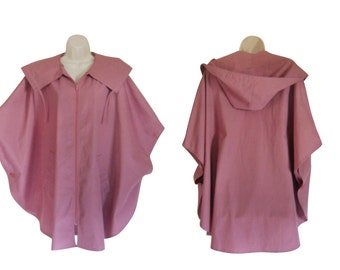 Poncho Coat Hooded Poncho Hooded Cape Coat Pink Poncho Coat Vintage Poncho Cape Ladies Poncho  Plus Size Poncho Plus Size Clothes Outerwear