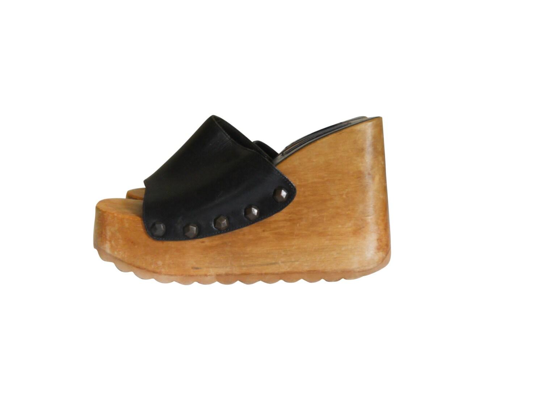 90s platform sandal wood platform sandal 90s platform shoe
